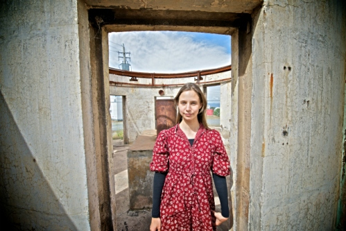 Kate Moore (portrait) Mount Stromlo Observatory - The Oddie ruin - photo credit: William Hall